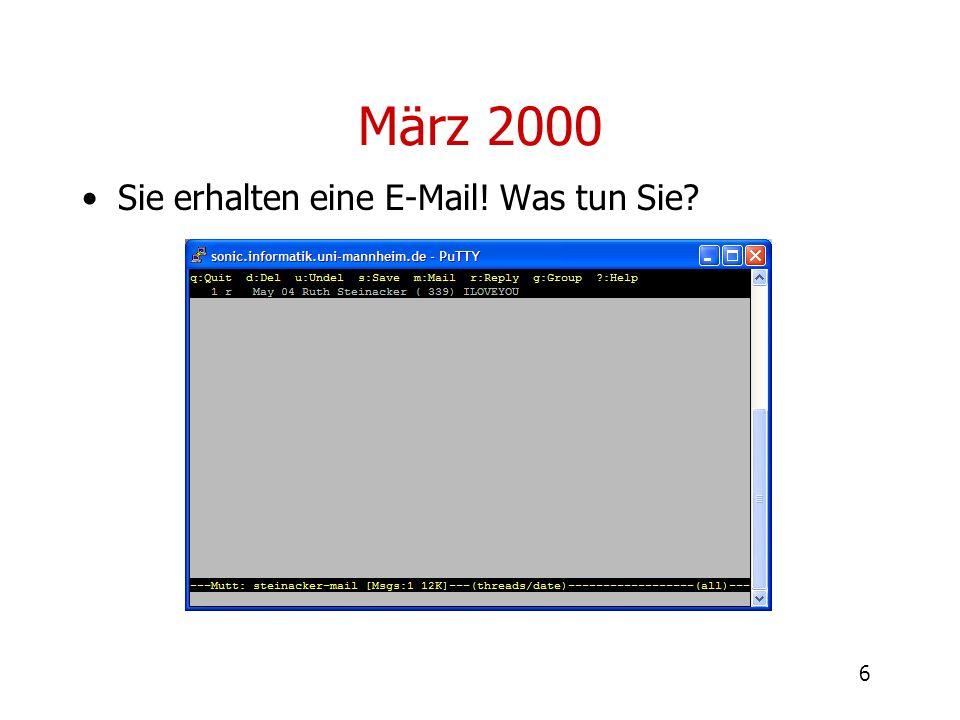6 März 2000 Sie erhalten eine E-Mail! Was tun Sie?