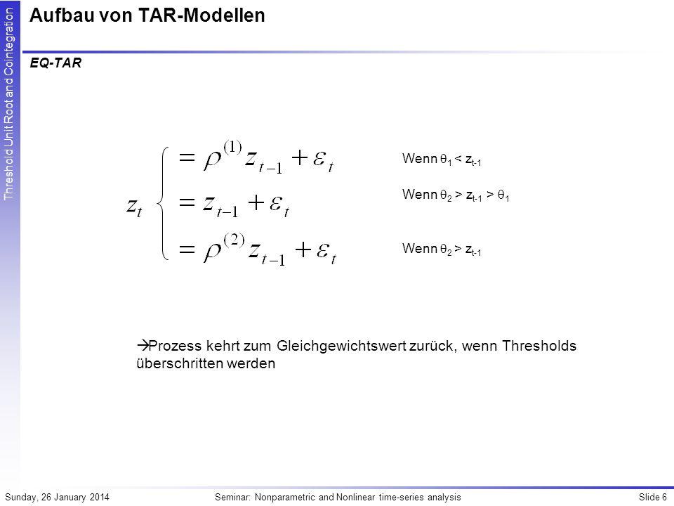 Slide 7Seminar: Nonparametric and Nonlinear time-series analysisSunday, 26 January 2014 Threshold Unit Root and Cointegration Aufbau von TAR-Modellen Band-TAR Wenn z t-1 > 1 Wenn 2 > z t-1 > 1 Wenn z t-1 < 2 Mit 2 < 1 Prozess kehrt zum inneren Bereich [ 1, 2 ]zurück, wenn Thresholds überschritten werden ztzt