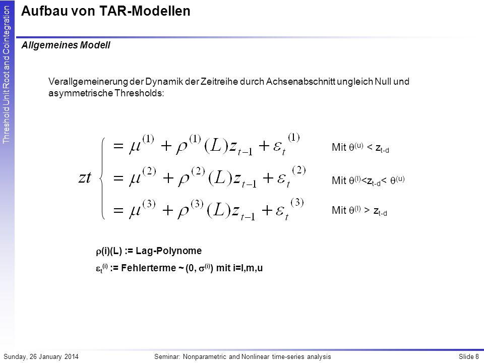 Slide 9Seminar: Nonparametric and Nonlinear time-series analysisSunday, 26 January 2014 Threshold Unit Root and Cointegration Aufbau von TAR-Modellen Bedingungen für Stationarität Notwendige und hinreichende Bedingungen an (i) und (i)(L), die Stationarität sicherstellen sind noch nicht abschliessend untersucht.
