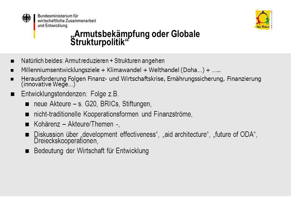 Natürlich beides: Armut reduzieren + Strukturen angehen Millenniumsentwicklungsziele + Klimawandel + Welthandel (Doha…) + …..