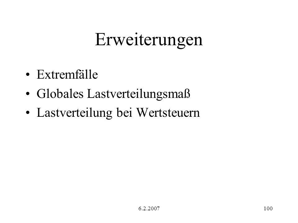 6.2.2007100 Erweiterungen Extremfälle Globales Lastverteilungsmaß Lastverteilung bei Wertsteuern