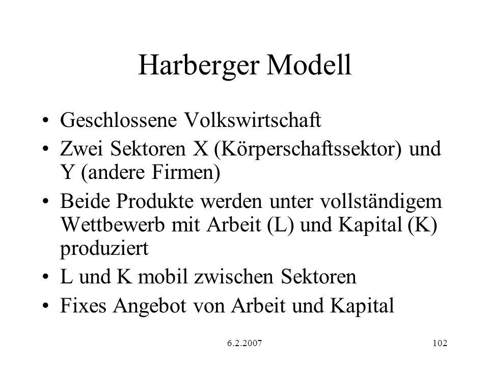 6.2.2007102 Harberger Modell Geschlossene Volkswirtschaft Zwei Sektoren X (Körperschaftssektor) und Y (andere Firmen) Beide Produkte werden unter vollständigem Wettbewerb mit Arbeit (L) und Kapital (K) produziert L und K mobil zwischen Sektoren Fixes Angebot von Arbeit und Kapital
