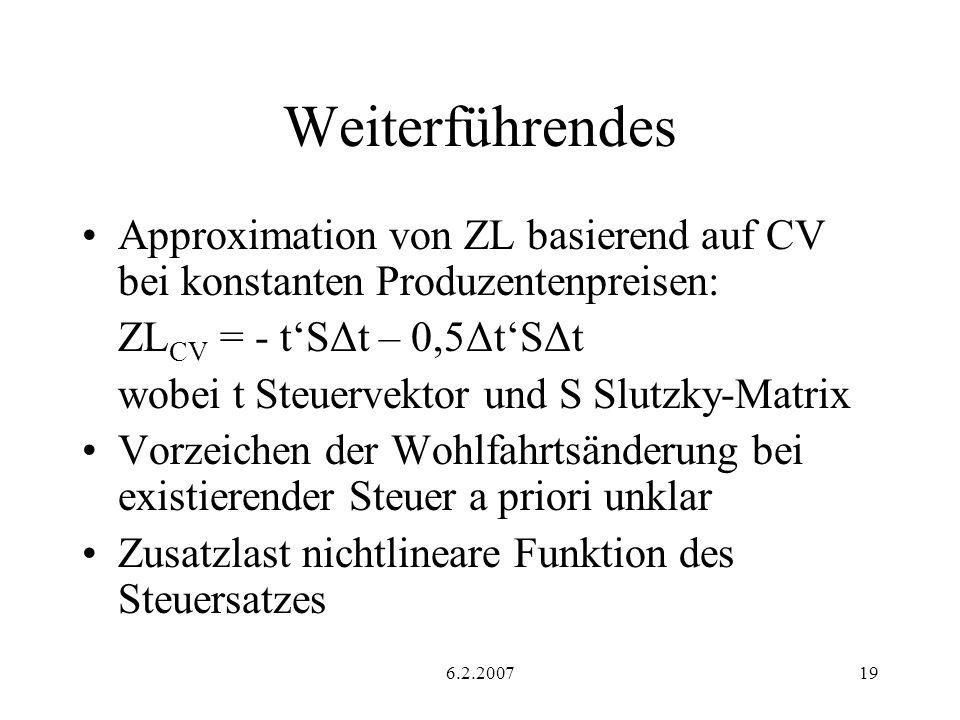 6.2.200719 Weiterführendes Approximation von ZL basierend auf CV bei konstanten Produzentenpreisen: ZL CV = - tSΔt – 0,5ΔtSΔt wobei t Steuervektor und S Slutzky-Matrix Vorzeichen der Wohlfahrtsänderung bei existierender Steuer a priori unklar Zusatzlast nichtlineare Funktion des Steuersatzes