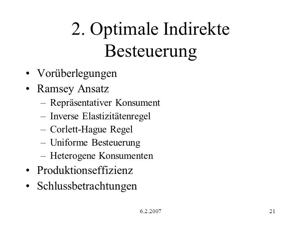 6.2.200721 2. Optimale Indirekte Besteuerung Vorüberlegungen Ramsey Ansatz –Repräsentativer Konsument –Inverse Elastizitätenregel –Corlett-Hague Regel