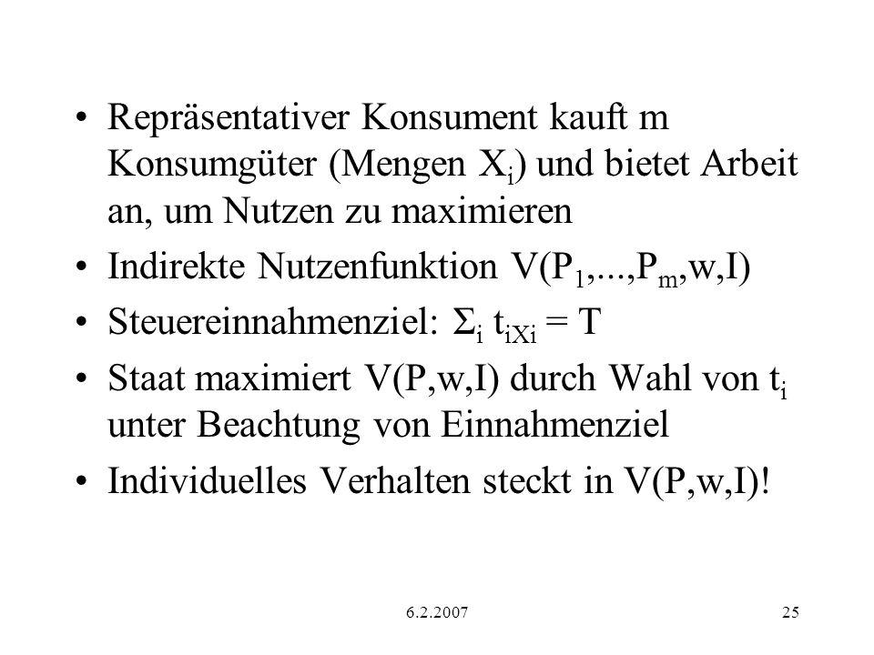 6.2.200725 Repräsentativer Konsument kauft m Konsumgüter (Mengen X i ) und bietet Arbeit an, um Nutzen zu maximieren Indirekte Nutzenfunktion V(P 1,...,P m,w,I) Steuereinnahmenziel: Σ i t iXi = T Staat maximiert V(P,w,I) durch Wahl von t i unter Beachtung von Einnahmenziel Individuelles Verhalten steckt in V(P,w,I)!