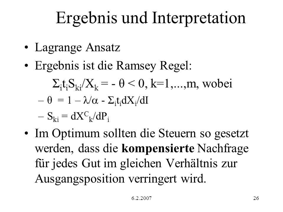 6.2.200726 Ergebnis und Interpretation Lagrange Ansatz Ergebnis ist die Ramsey Regel: Σ i t i S ki /X k = - θ < 0, k=1,...,m, wobei –θ = 1 – λ/ - Σ i t i dX i /dI –S ki = dX C k /dP i Im Optimum sollten die Steuern so gesetzt werden, dass die kompensierte Nachfrage für jedes Gut im gleichen Verhältnis zur Ausgangsposition verringert wird.