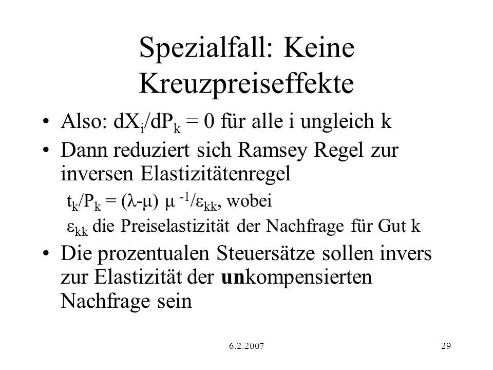 6.2.200729 Spezialfall: Keine Kreuzpreiseffekte Also: dX i /dP k = 0 für alle i ungleich k Dann reduziert sich Ramsey Regel zur inversen Elastizitätenregel t k /P k = (λ-μ) μ -1 /ε kk, wobei ε kk die Preiselastizität der Nachfrage für Gut k Die prozentualen Steuersätze sollen invers zur Elastizität der unkompensierten Nachfrage sein