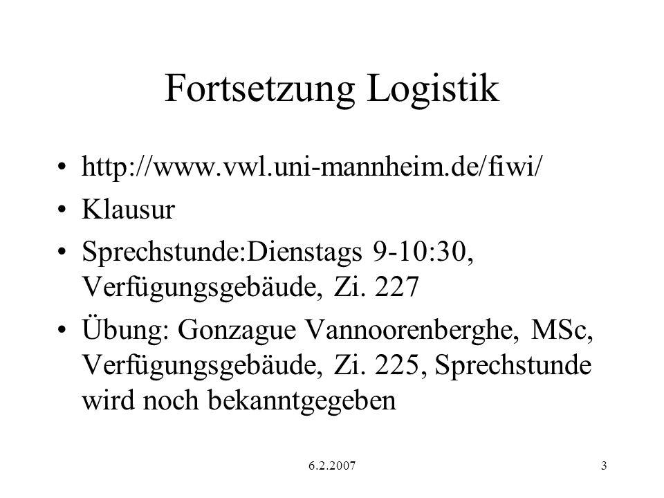 6.2.20073 Fortsetzung Logistik http://www.vwl.uni-mannheim.de/fiwi/ Klausur Sprechstunde:Dienstags 9-10:30, Verfügungsgebäude, Zi.
