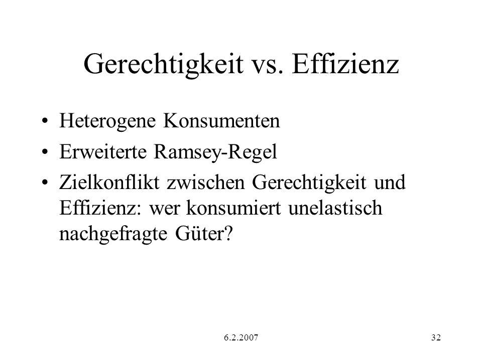 6.2.200732 Gerechtigkeit vs. Effizienz Heterogene Konsumenten Erweiterte Ramsey-Regel Zielkonflikt zwischen Gerechtigkeit und Effizienz: wer konsumier