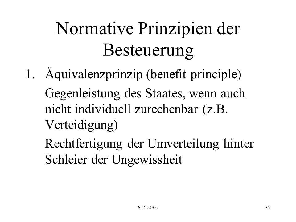 6.2.200737 Normative Prinzipien der Besteuerung 1.Äquivalenzprinzip (benefit principle) Gegenleistung des Staates, wenn auch nicht individuell zurechenbar (z.B.