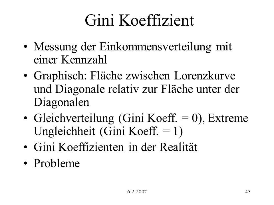 6.2.200743 Gini Koeffizient Messung der Einkommensverteilung mit einer Kennzahl Graphisch: Fläche zwischen Lorenzkurve und Diagonale relativ zur Fläche unter der Diagonalen Gleichverteilung (Gini Koeff.