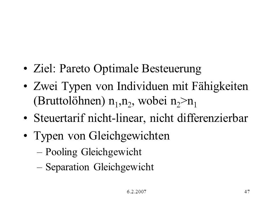 6.2.200747 Ziel: Pareto Optimale Besteuerung Zwei Typen von Individuen mit Fähigkeiten (Bruttolöhnen) n 1,n 2, wobei n 2 >n 1 Steuertarif nicht-linear, nicht differenzierbar Typen von Gleichgewichten –Pooling Gleichgewicht –Separation Gleichgewicht