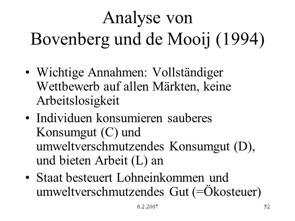 6.2.200752 Analyse von Bovenberg und de Mooij (1994) Wichtige Annahmen: Vollständiger Wettbewerb auf allen Märkten, keine Arbeitslosigkeit Individuen konsumieren sauberes Konsumgut (C) und umweltverschmutzendes Konsumgut (D), und bieten Arbeit (L) an Staat besteuert Lohneinkommen und umweltverschmutzendes Gut (=Ökosteuer)