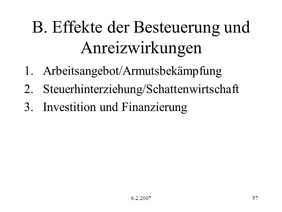 6.2.200757 B. Effekte der Besteuerung und Anreizwirkungen 1.Arbeitsangebot/Armutsbekämpfung 2.Steuerhinterziehung/Schattenwirtschaft 3.Investition und