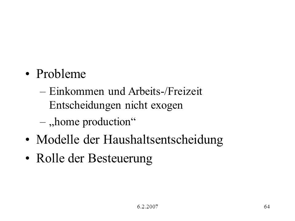 6.2.200764 Probleme –Einkommen und Arbeits-/Freizeit Entscheidungen nicht exogen –home production Modelle der Haushaltsentscheidung Rolle der Besteuerung