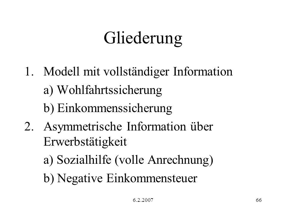 6.2.200766 Gliederung 1.Modell mit vollständiger Information a) Wohlfahrtssicherung b) Einkommenssicherung 2.Asymmetrische Information über Erwerbstät