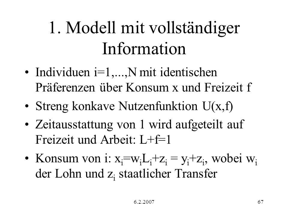 6.2.200767 1. Modell mit vollständiger Information Individuen i=1,...,N mit identischen Präferenzen über Konsum x und Freizeit f Streng konkave Nutzen