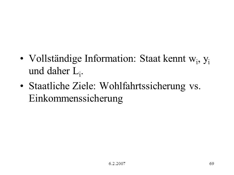 6.2.200769 Vollständige Information: Staat kennt w i, y i und daher L i. Staatliche Ziele: Wohlfahrtssicherung vs. Einkommenssicherung