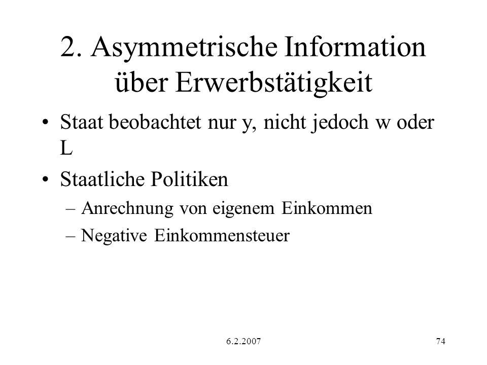 6.2.200774 2. Asymmetrische Information über Erwerbstätigkeit Staat beobachtet nur y, nicht jedoch w oder L Staatliche Politiken –Anrechnung von eigen