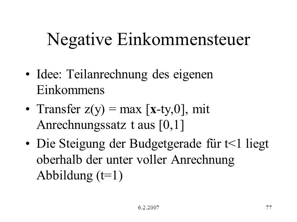 6.2.200777 Negative Einkommensteuer Idee: Teilanrechnung des eigenen Einkommens Transfer z(y) = max [x-ty,0], mit Anrechnungssatz t aus [0,1] Die Steigung der Budgetgerade für t<1 liegt oberhalb der unter voller Anrechnung Abbildung (t=1)