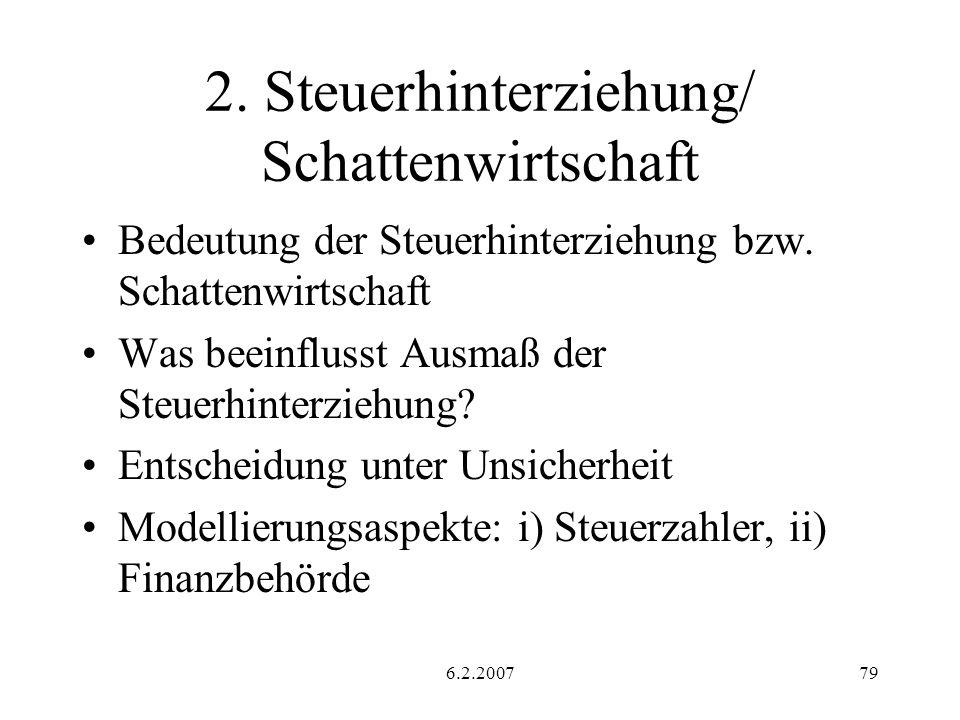 6.2.200779 2.Steuerhinterziehung/ Schattenwirtschaft Bedeutung der Steuerhinterziehung bzw.