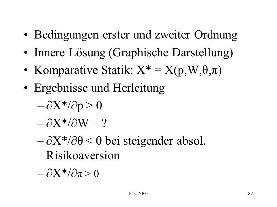 6.2.200782 Bedingungen erster und zweiter Ordnung Innere Lösung (Graphische Darstellung) Komparative Statik: X* = X(p,W,θ,π) Ergebnisse und Herleitung – X*/ p > 0 – X*/ W = .