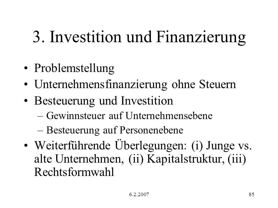 6.2.200785 3. Investition und Finanzierung Problemstellung Unternehmensfinanzierung ohne Steuern Besteuerung und Investition –Gewinnsteuer auf Unterne
