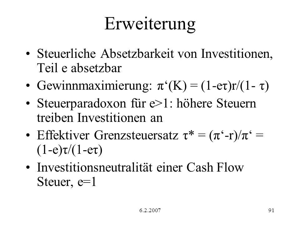6.2.200791 Erweiterung Steuerliche Absetzbarkeit von Investitionen, Teil e absetzbar Gewinnmaximierung: π(K) = (1-eτ)r/(1- τ) Steuerparadoxon für e>1: höhere Steuern treiben Investitionen an Effektiver Grenzsteuersatz τ* = (π-r)/π = (1-e)τ/(1-eτ) Investitionsneutralität einer Cash Flow Steuer, e=1