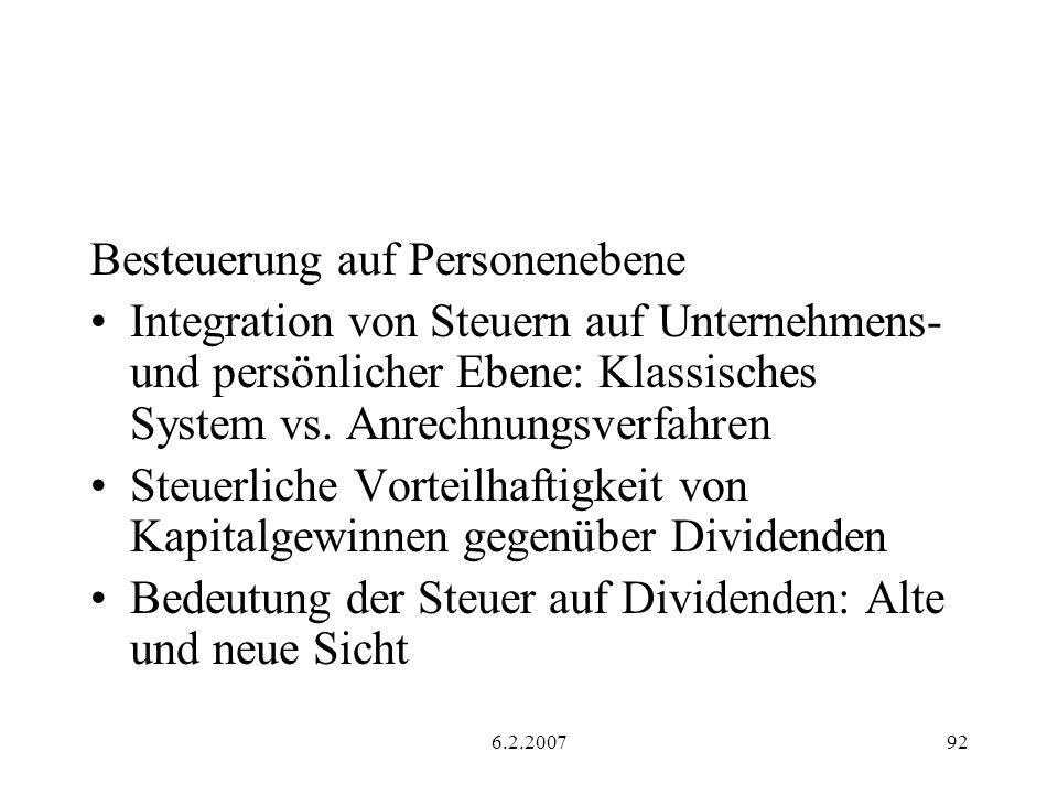 6.2.200792 Besteuerung auf Personenebene Integration von Steuern auf Unternehmens- und persönlicher Ebene: Klassisches System vs.