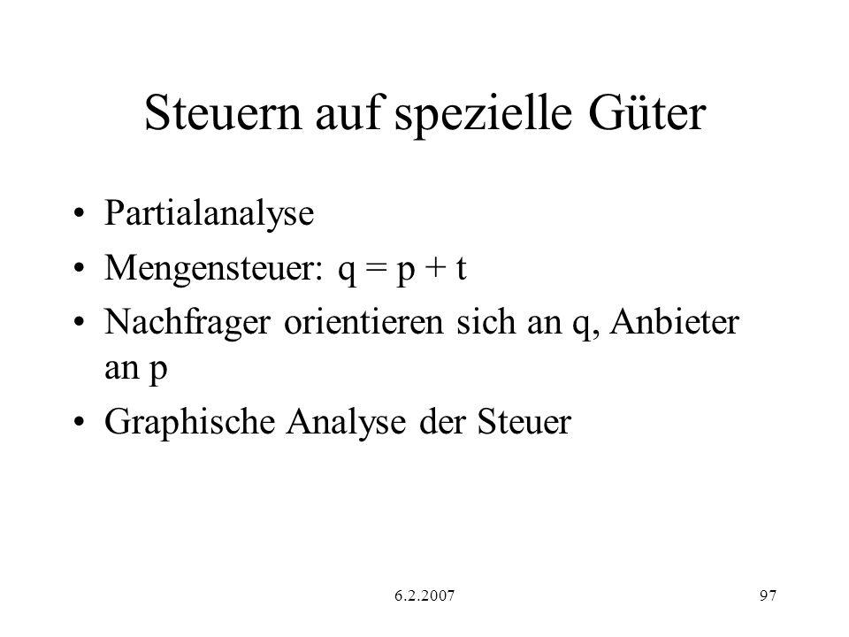 6.2.200797 Steuern auf spezielle Güter Partialanalyse Mengensteuer: q = p + t Nachfrager orientieren sich an q, Anbieter an p Graphische Analyse der S