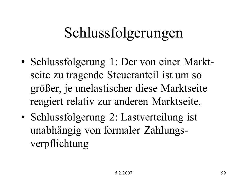 6.2.200799 Schlussfolgerungen Schlussfolgerung 1: Der von einer Markt- seite zu tragende Steueranteil ist um so größer, je unelastischer diese Marktseite reagiert relativ zur anderen Marktseite.