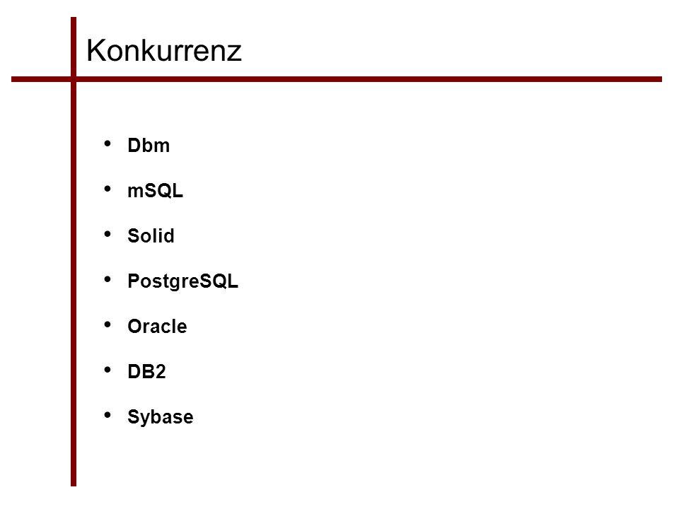 Konkurrenz Dbm mSQL Solid PostgreSQL Oracle DB2 Sybase