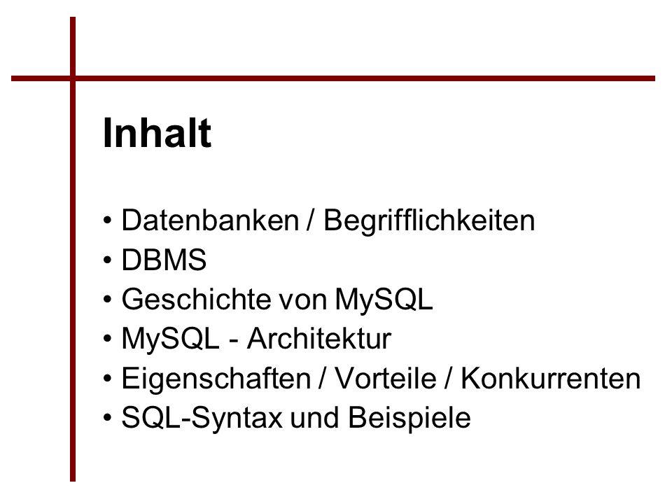 Datenbanken / Begrifflichkeiten DBMS Geschichte von MySQL MySQL - Architektur Eigenschaften / Vorteile / Konkurrenten SQL-Syntax und Beispiele Inhalt