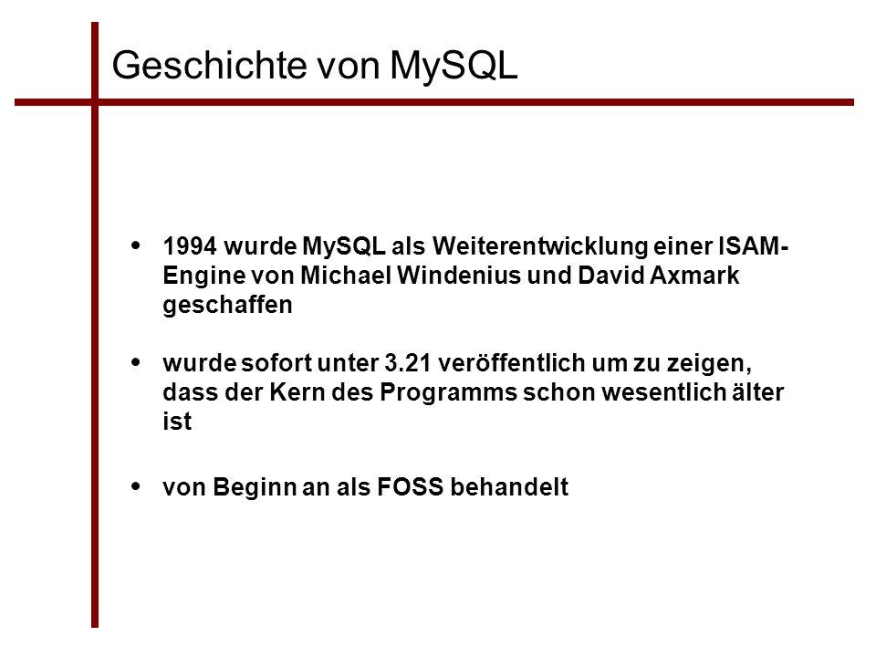Geschichte von MySQL 1994 wurde MySQL als Weiterentwicklung einer ISAM- Engine von Michael Windenius und David Axmark geschaffen wurde sofort unter 3.