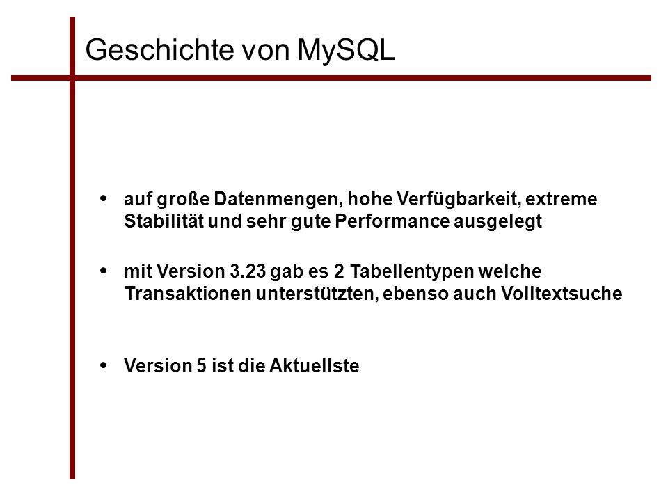 Geschichte von MySQL auf große Datenmengen, hohe Verfügbarkeit, extreme Stabilität und sehr gute Performance ausgelegt mit Version 3.23 gab es 2 Tabel