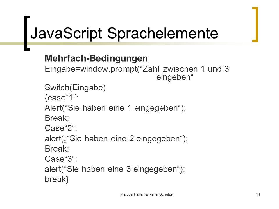 14Marcus Haller & René Schulze JavaScript Sprachelemente Mehrfach-Bedingungen Eingabe=window.prompt(Zahl zwischen 1 und 3 eingeben Switch(Eingabe) {ca