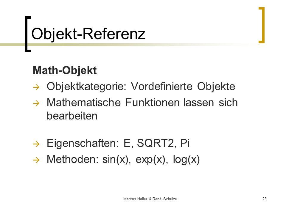 23Marcus Haller & René Schulze Objekt-Referenz Math-Objekt Objektkategorie: Vordefinierte Objekte Mathematische Funktionen lassen sich bearbeiten Eige