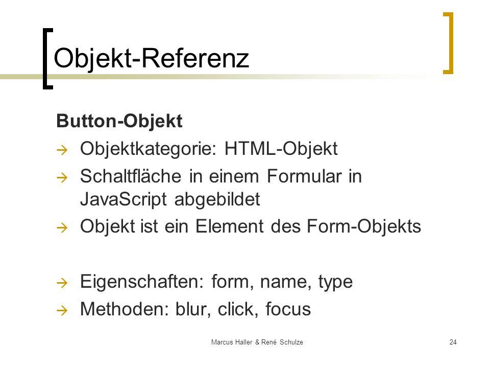 24Marcus Haller & René Schulze Objekt-Referenz Button-Objekt Objektkategorie: HTML-Objekt Schaltfläche in einem Formular in JavaScript abgebildet Obje