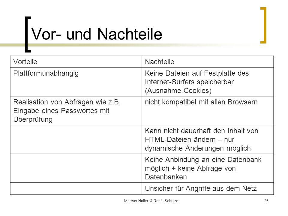 26Marcus Haller & René Schulze Vor- und Nachteile VorteileNachteile PlattformunabhängigKeine Dateien auf Festplatte des Internet-Surfers speicherbar (