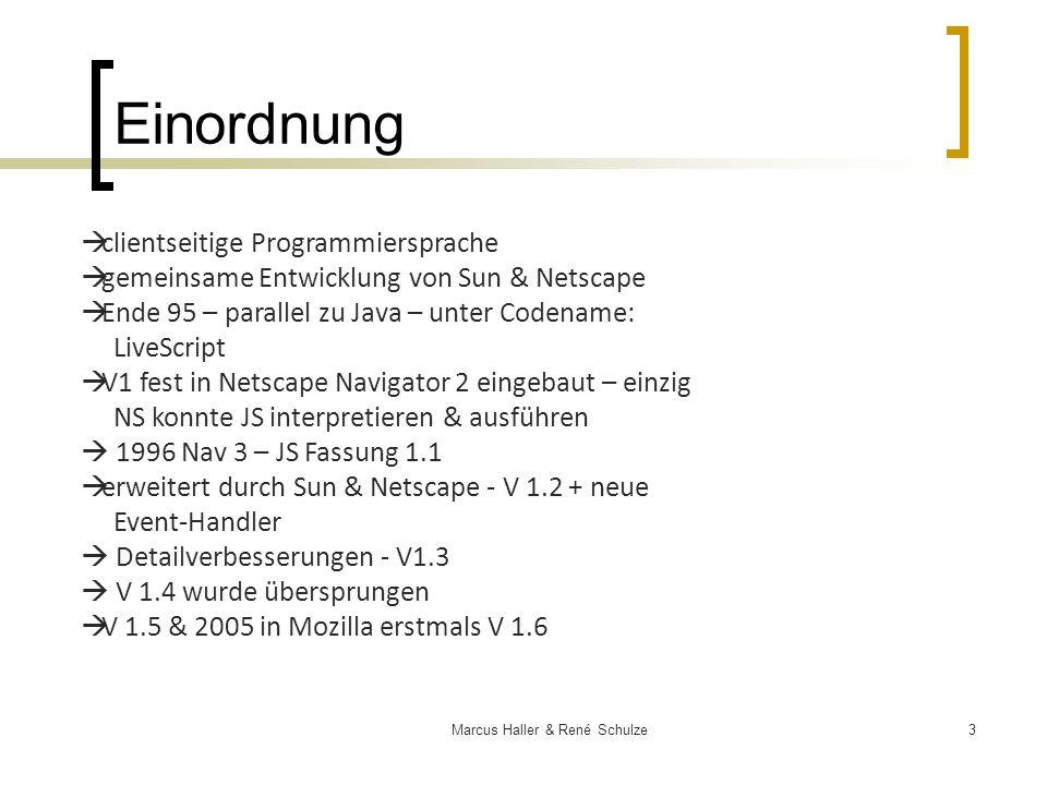 14Marcus Haller & René Schulze JavaScript Sprachelemente Mehrfach-Bedingungen Eingabe=window.prompt(Zahl zwischen 1 und 3 eingeben Switch(Eingabe) {case1: Alert(Sie haben eine 1 eingegeben); Break; Case2: alert(Sie haben eine 2 eingegeben); Break; Case3: alert(Sie haben eine 3 eingegeben); break}