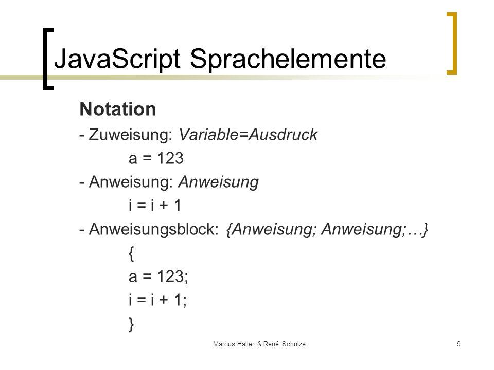 20Marcus Haller & René Schulze Objektmodell Eigenschaften (properties) und Fähigkeiten (methods) werden Objekten zugeordnet und können ihrerseits wieder als Objekte fungieren, so dass sie eine Hierarchie bilden: object1.object2.objectn.property object1.object2.objectn.method() window.document.write(Hallo); JavaScript Sprachelemente