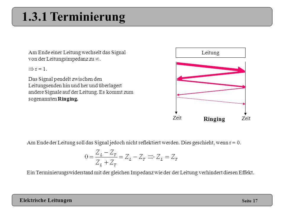 1.3 Reflektionen Seite 16 Ändert sich die Impedanz einer Leitung, wird ein Teil des Signals reflektiert. Reflektionsfaktor: Reflektionsstrom: Reflekti