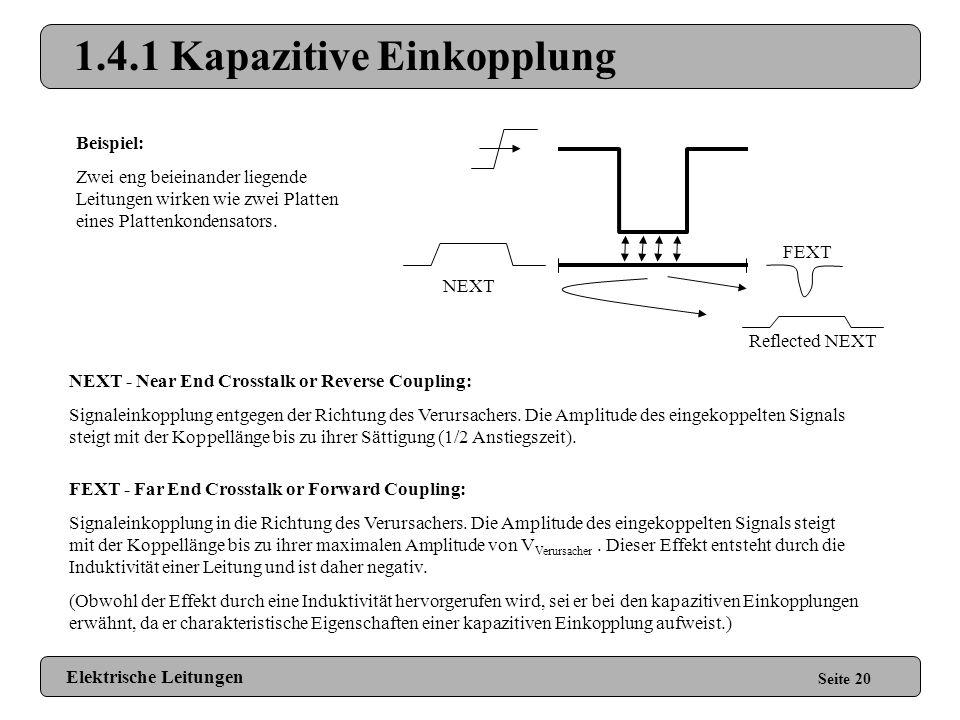 1.4 Crosstalk Seite 19 Einflussnahme eines fremden Signals auf die eigene Signalleitung durch: kapazitive Einkopplung, induktive Einkopplung oder ohms