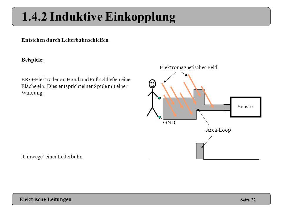 1.4.1 Kapazitive Einkopplung Elektrische Leitungen Seite 21 Reduzieren kapazitiver Einkopplungen: Abschirmung (GND-Ummantelung, Striplines anstatt Mic