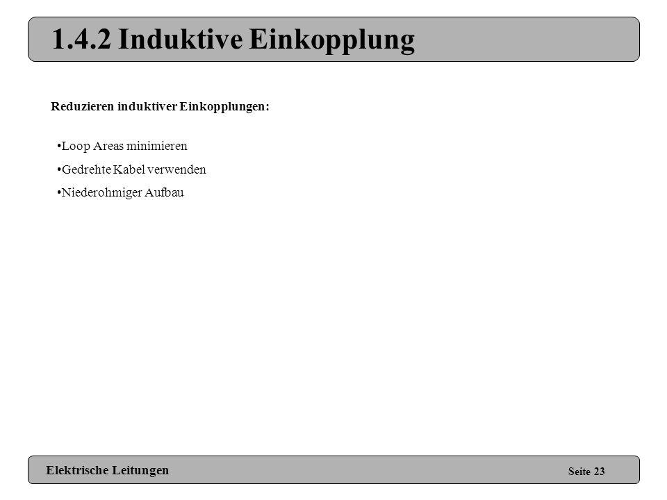 1.4.2 Induktive Einkopplung Seite 22 Sensor GND Elektromagnetisches Feld Area-Loop Entstehen durch Leiterbahnschleifen Beispiele: EKG-Elektroden an Ha