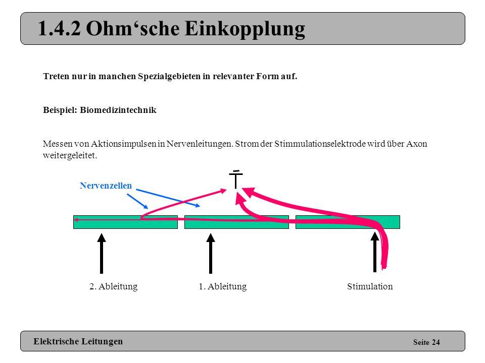 1.4.2 Induktive Einkopplung Seite 23 Reduzieren induktiver Einkopplungen: Elektrische Leitungen Loop Areas minimieren Gedrehte Kabel verwenden Niedero