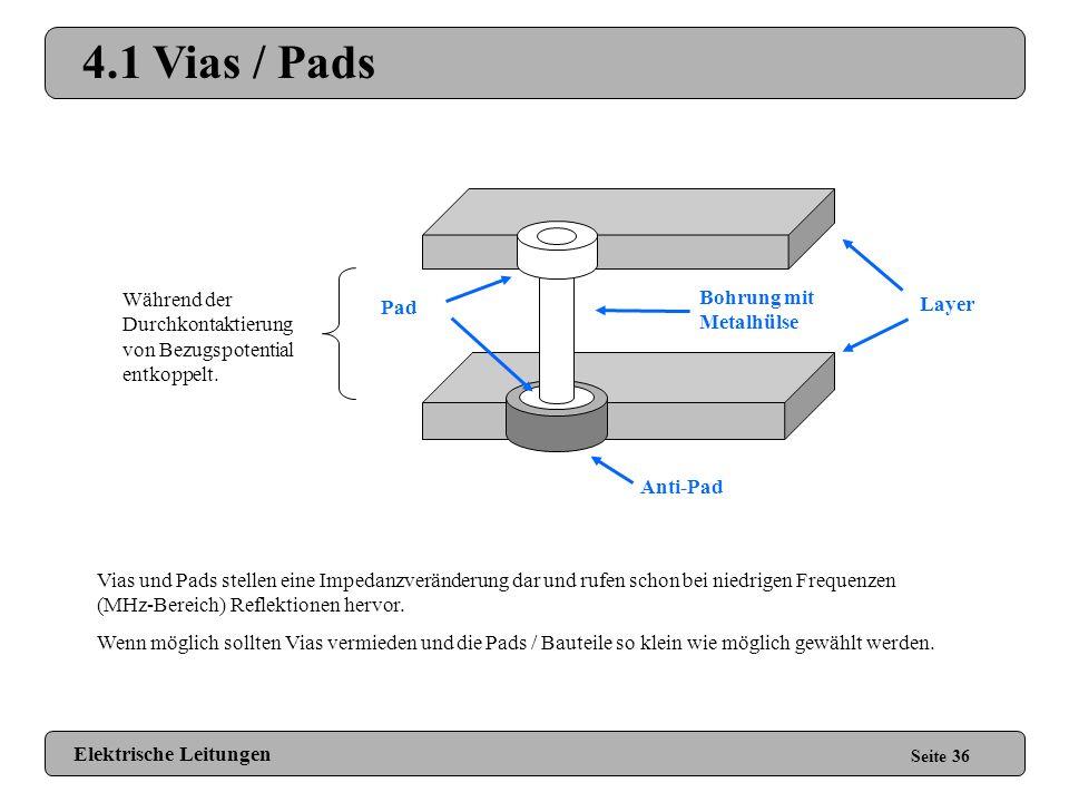 4 Entwurf von Leiterplatten Seite 35 4.1 Vias / Pads 4.2 Ecken 4.3 Layeranordnung 4.4 Abschirmung 4.5 Hitzefallen 4.6 Pufferkondensatoren Elektrische