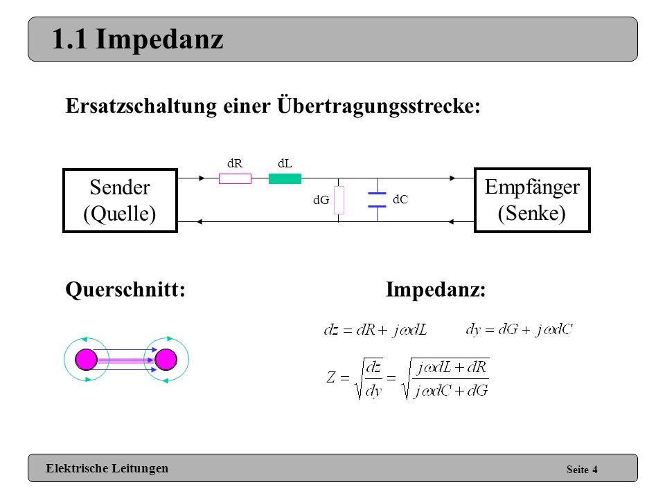 1 Grundlagen Seite 3 1.1 Impedanz 1.1.1 Verlustfreie Leitungen 1.1.2 Verlustbehaftete Leitungen 1.1.2.1 Skin Effekt 1.1.2.2 Weitere Effekte 1.1.2.3 Fo