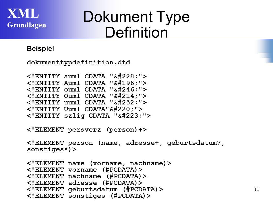 XML Grundlagen 11 Beispiel dokumenttypdefinition.dtd Dokument Type Definition