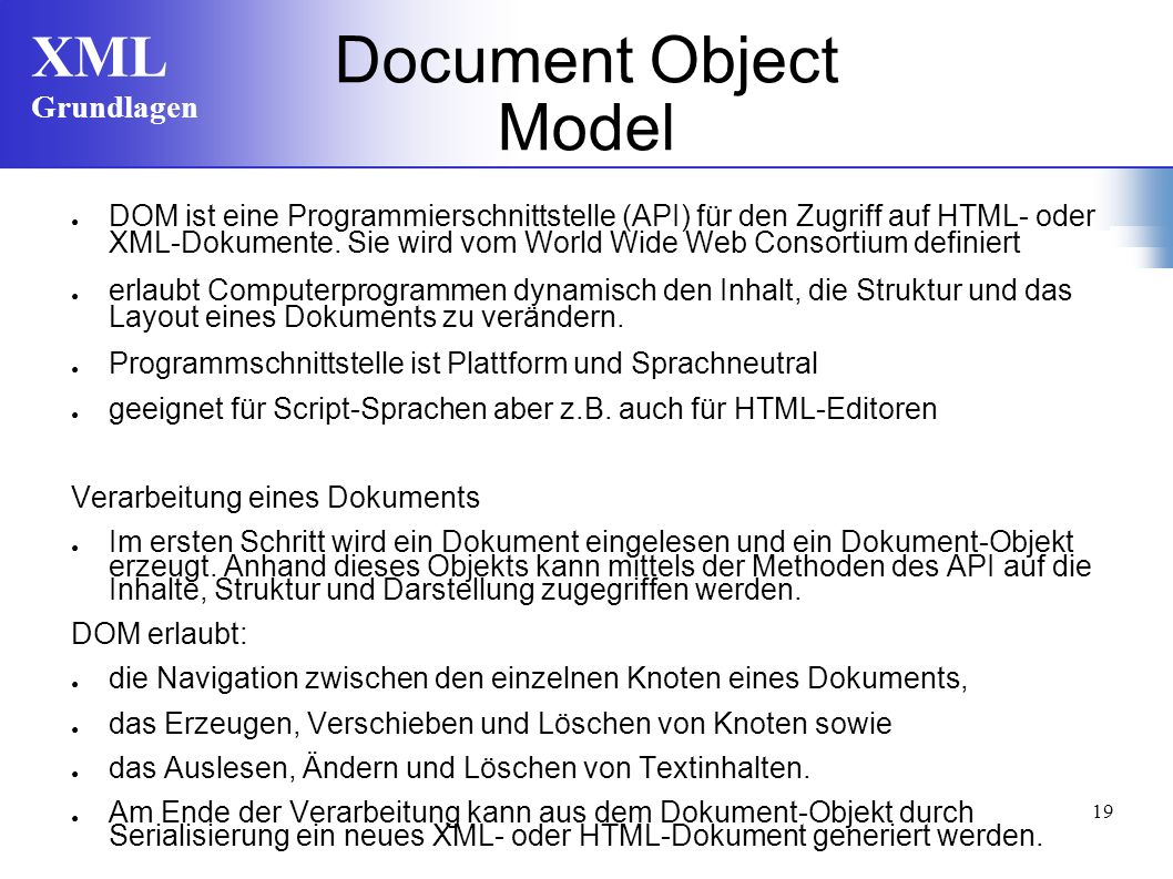 XML Grundlagen 19 Document Object Model DOM ist eine Programmierschnittstelle (API) für den Zugriff auf HTML- oder XML-Dokumente.